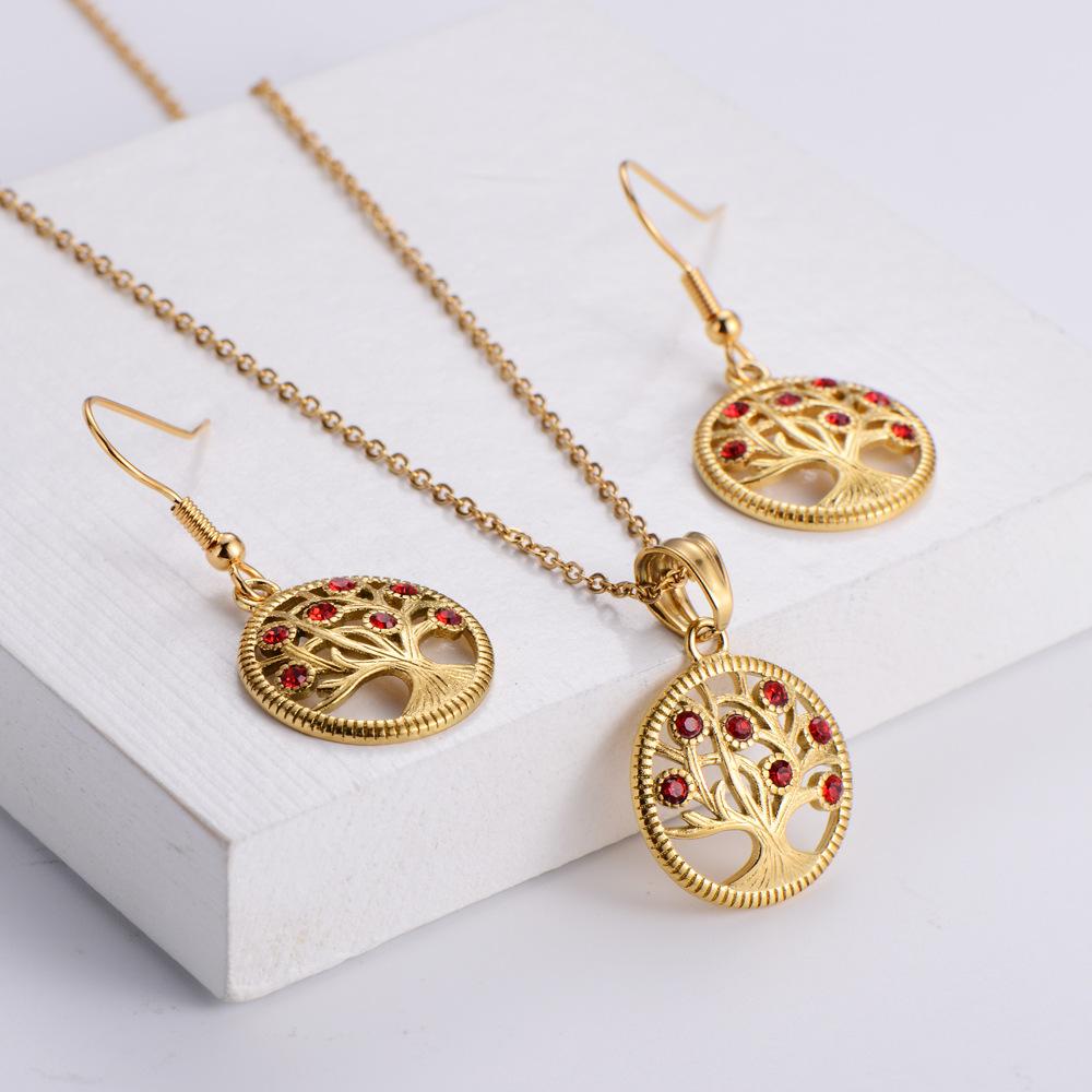 Pendientes de collar de moda colgante de árbol de diamantes conjunto al por mayor de joyería NHON391963