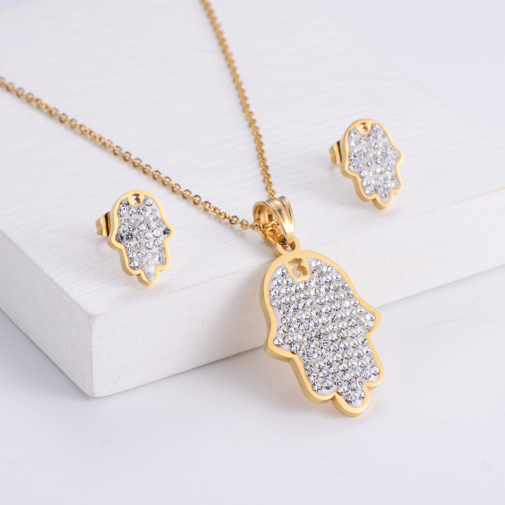 Pendientes de collar de diamantes de imitación con colgante de palma set al por mayor  NHON391967