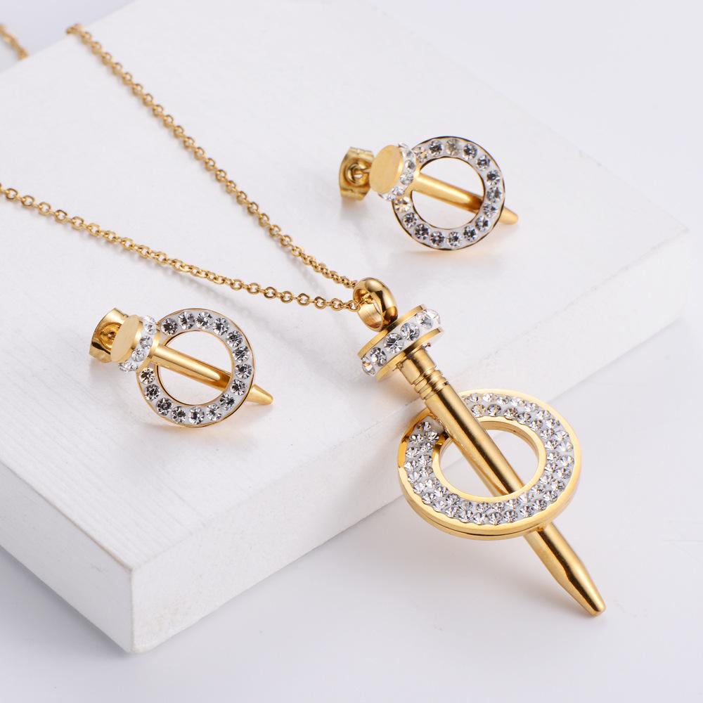 Conjunto de pendientes de collar de diamantes de imitación de uñas al por mayor  NHON391972
