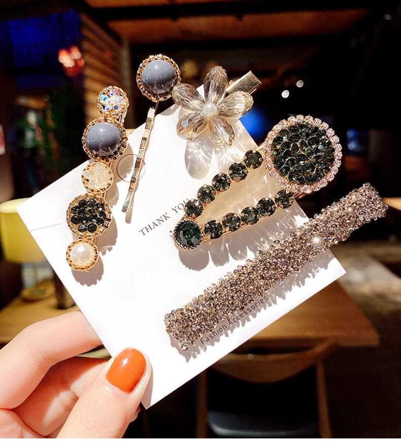 Las pinzas para el pelo del diamante artificial de la muchacha de la horquilla de las explosiones al por mayor fijaron los accesorios para el cabello NHQIY392178