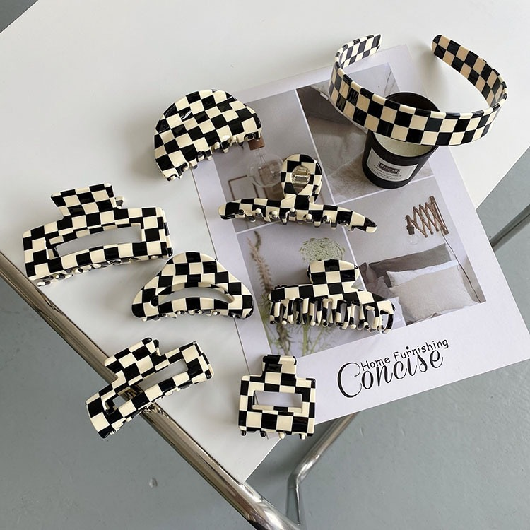 Venta al por mayor de tablero de ajedrez en blanco y negro, placa de acetato con clip de tiburón, pinza de tiburón con cabeza hacia atrás NHQIY392189