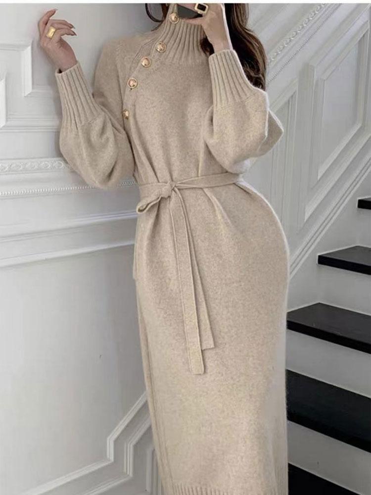 Venta al por mayor suéter de otoño largo sobre la rodilla que toca el fondo de las mujeres del vestido de punto NHKO393536