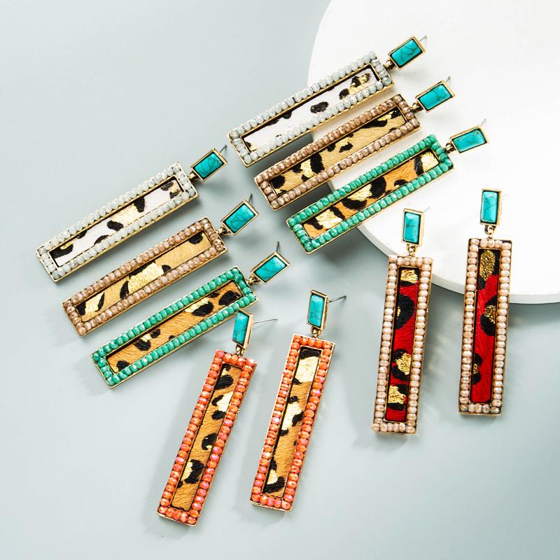 Al por mayor pendientes de cristal de cuero con estampado de leopardo bohemio  NHLN392950