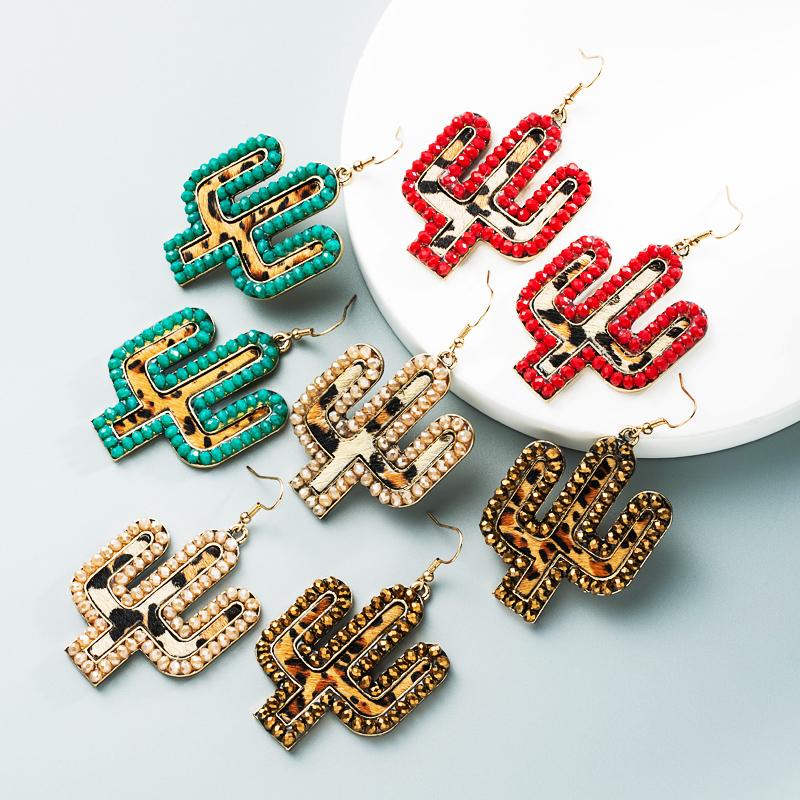 wholesale nuevos pendientes de cactus con estampado de leopardo de cuero creativo  NHLN392946