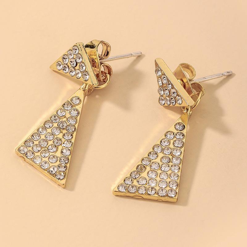 Al por mayor pendientes geométricos triangulares de diamantes de imitación completos  NHNJ393028