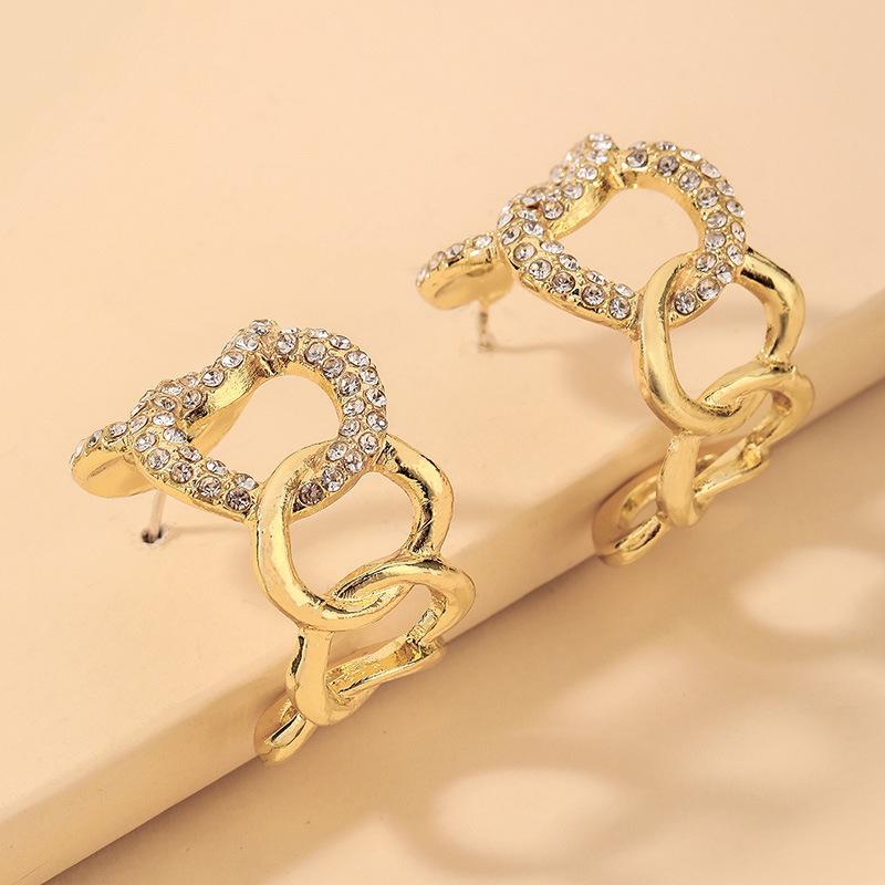 wholesale Pendientes en forma de C de cadena geométrica de diamantes de imitación con incrustaciones  NHNJ393029