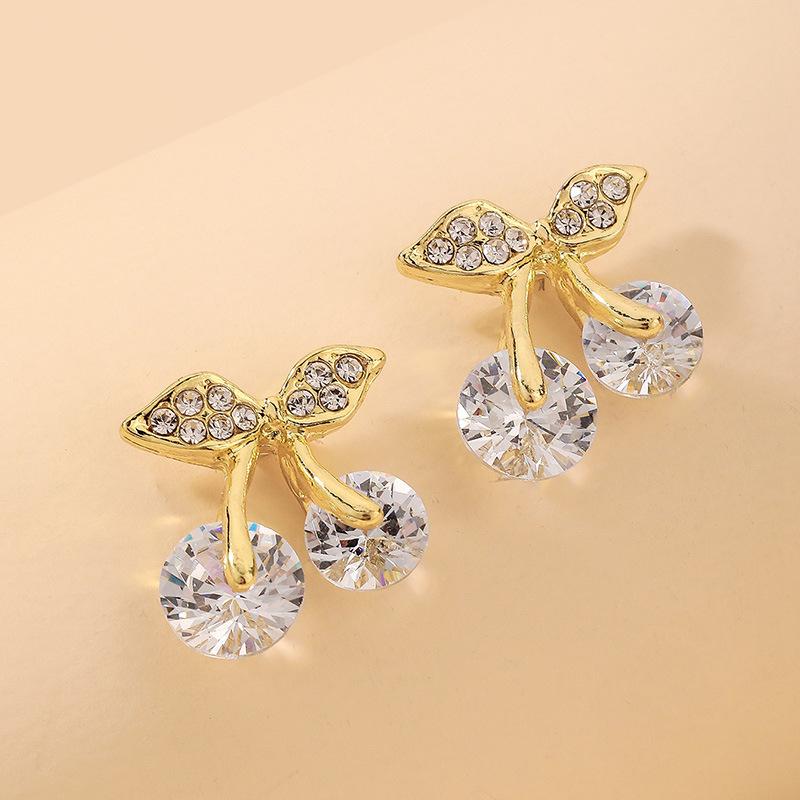 Al por mayor pendientes de cereza de diamantes de imitación de frutas retro  NHNJ393030