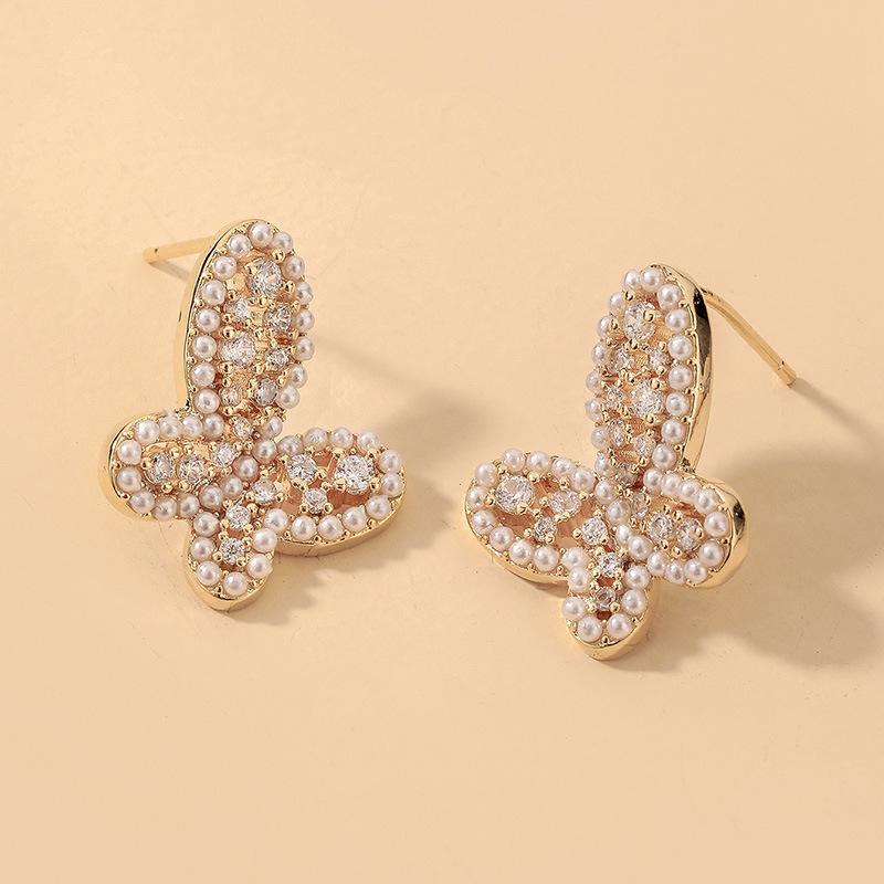 Al por mayor pendientes de mariposa de perlas de diamantes de imitación  NHNJ393032