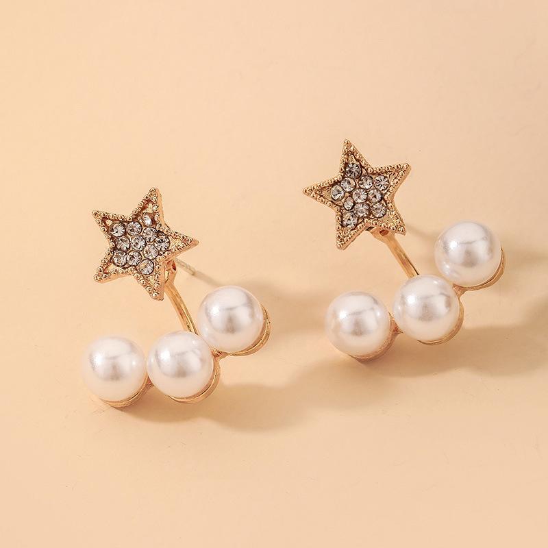Al por mayor pendientes de perlas de estrella de diamantes de imitación retro  NHNJ393038