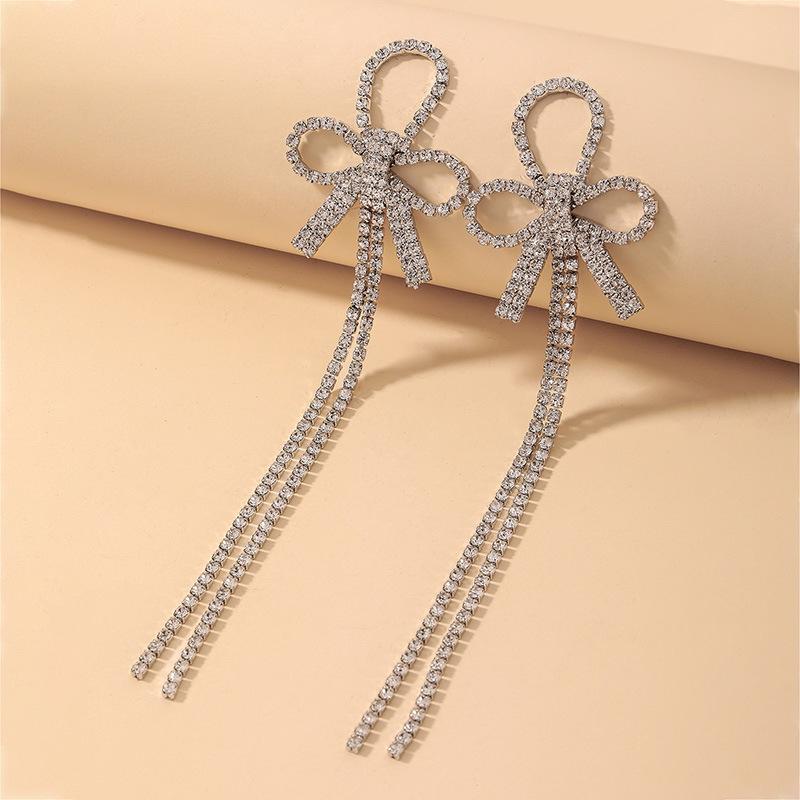 wholesale pendientes de borla de arco de diamantes de imitación completos retro  NHNJ393042