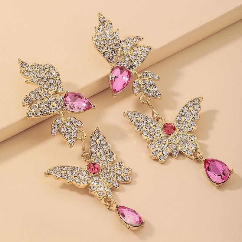 wholesale pendientes de gota de mariposa de diamantes de imitación con incrustaciones retro  NHNJ393044