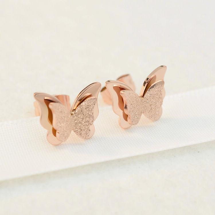 Pendientes de estilo coreano de mariposa esmerilada joyería al por mayor  NHAB393127