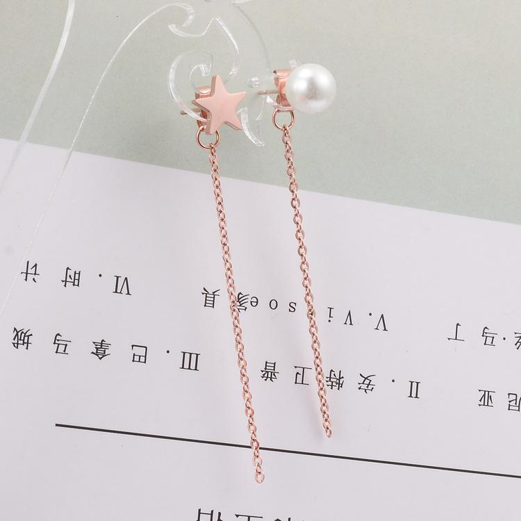 Perla irregular borla de estrella de cinco puntas pendientes largos de acero de titanio joyería al por mayor  NHAB393161