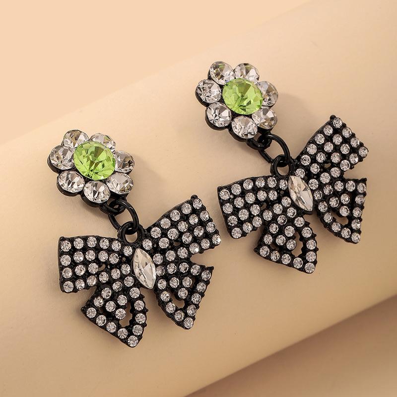 wholesale pendientes de lazo de flores con incrustaciones de diamantes de imitación  NHNJ393606
