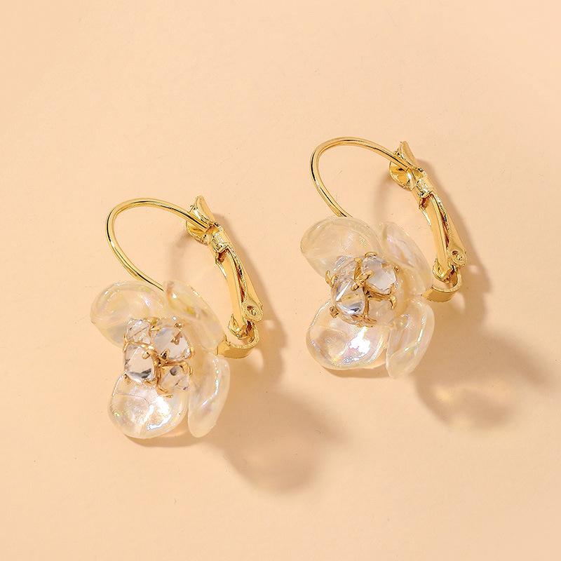 wholesale pendientes de flores de perlas de diamantes de imitación de moda  NHNJ393610