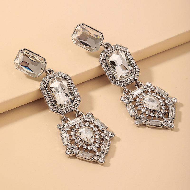 Al por mayor pendientes de cristal de diamantes de imitación geométricos barrocos  NHNJ393611