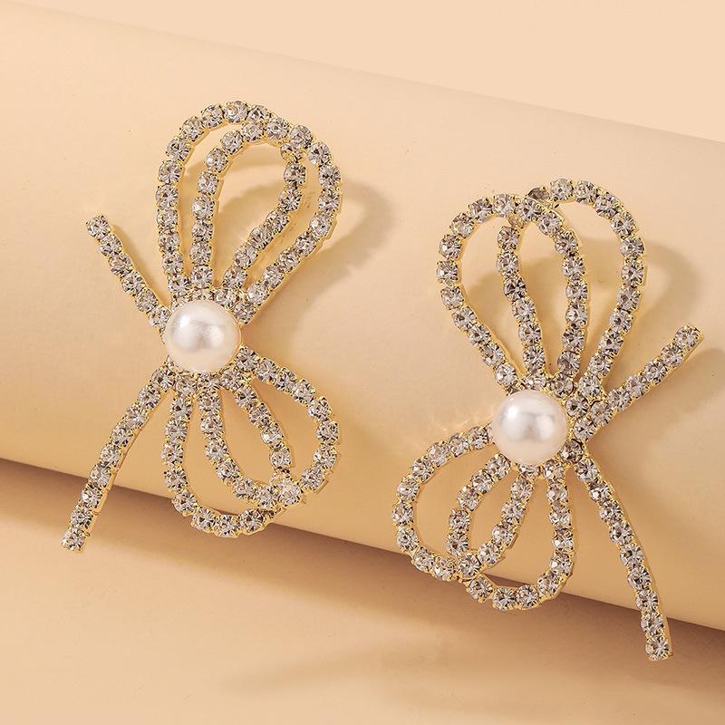 wholesale pendientes de lazo de perlas de diamantes de imitación con incrustaciones de moda  NHNJ393612