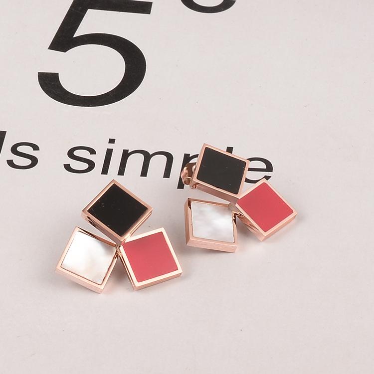 Pendientes cuadrados de acero de titanio rojo blanco y negro de tres colores joyería al por mayor  NHAB393673