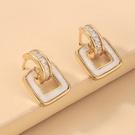 NHNJ1824216-Silver-Needle-Golden-Square-Stud-Earrings