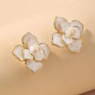 NHNJ1824253-Silver-Needle-White-Flower-Stud-Earrings