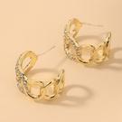 NHNJ1824204-Silver-Post-Golden-C-Shape-Earrings