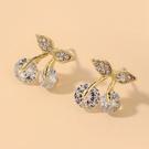 NHNJ1824207-Silver-Post-Golden-Cherry-Stud-Earrings