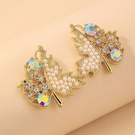 NHNJ1824247-Silver-Post-Golden-Pearl-Maple-Leaf-Stud-Earring
