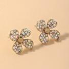 NHNJ1826831-Silver-Post-Golden-Flower-Stud-Earrings