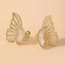 NHNJ1826858-Silver-Post-Golden-Butterfly-Stud-Earrings