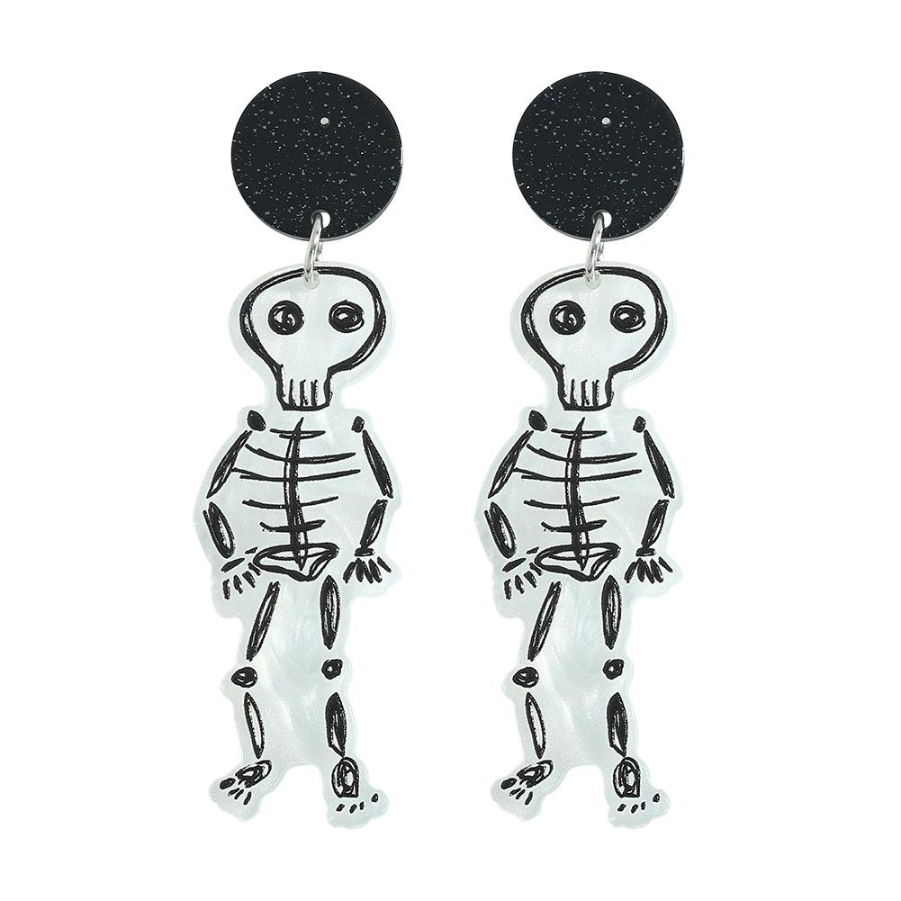 Pendientes de cabeza de fantasma de calavera de graffiti de acrílico de Halloween joyería al por mayor  NHJQ393744