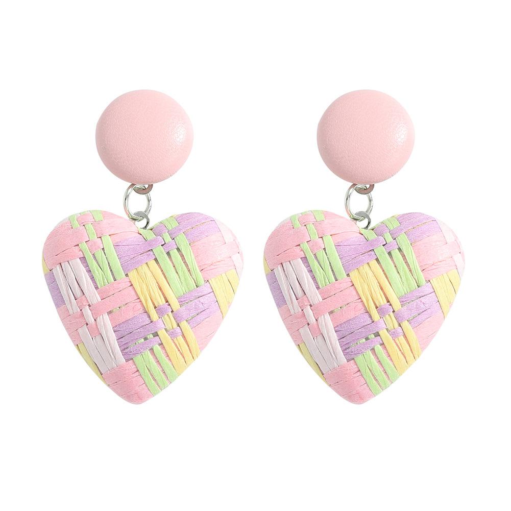 Pendientes de corazón de melocotón tejido rafia de color joyería al por mayor  NHJQ393752