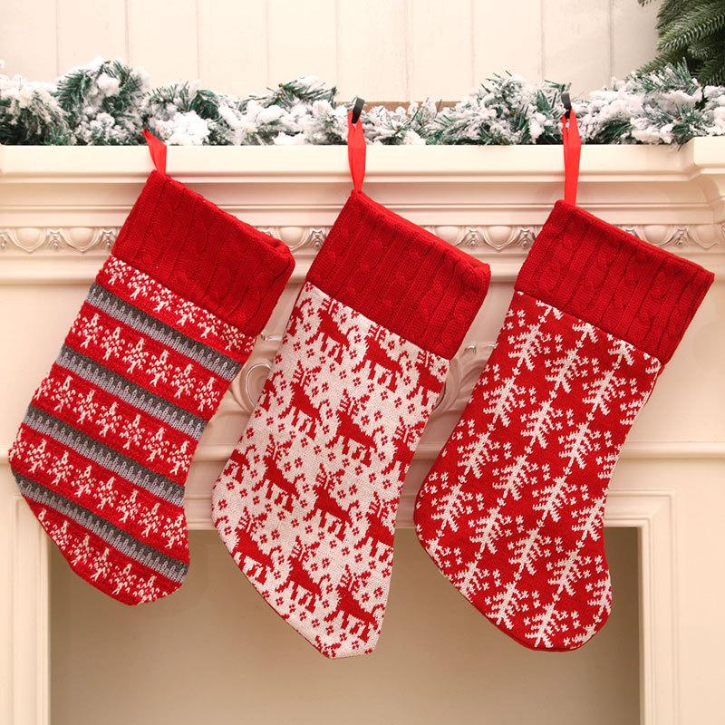 Venta al por mayor nueva estrella de punto ciervos árbol de navidad calcetín de navidad  NHMV394464