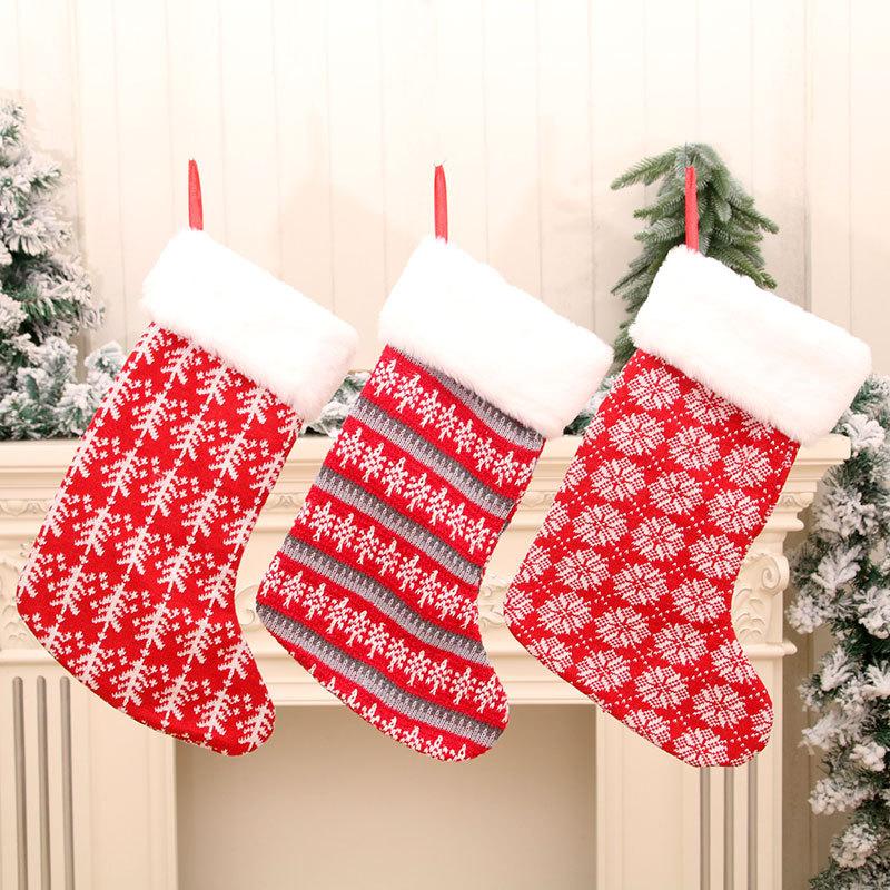 wholesale nuevos calcetines grandes calcetines navideños de rayas rojas y blancas  NHMV394467