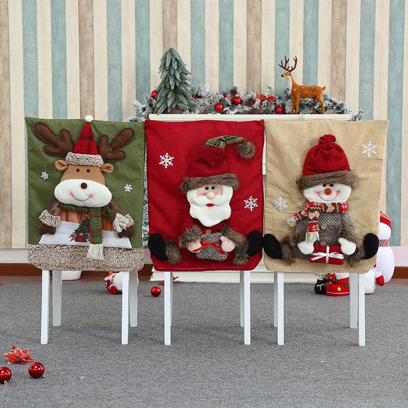wholesale nueva funda de silla tridimensional de franela navideña engrosada  NHMV394468