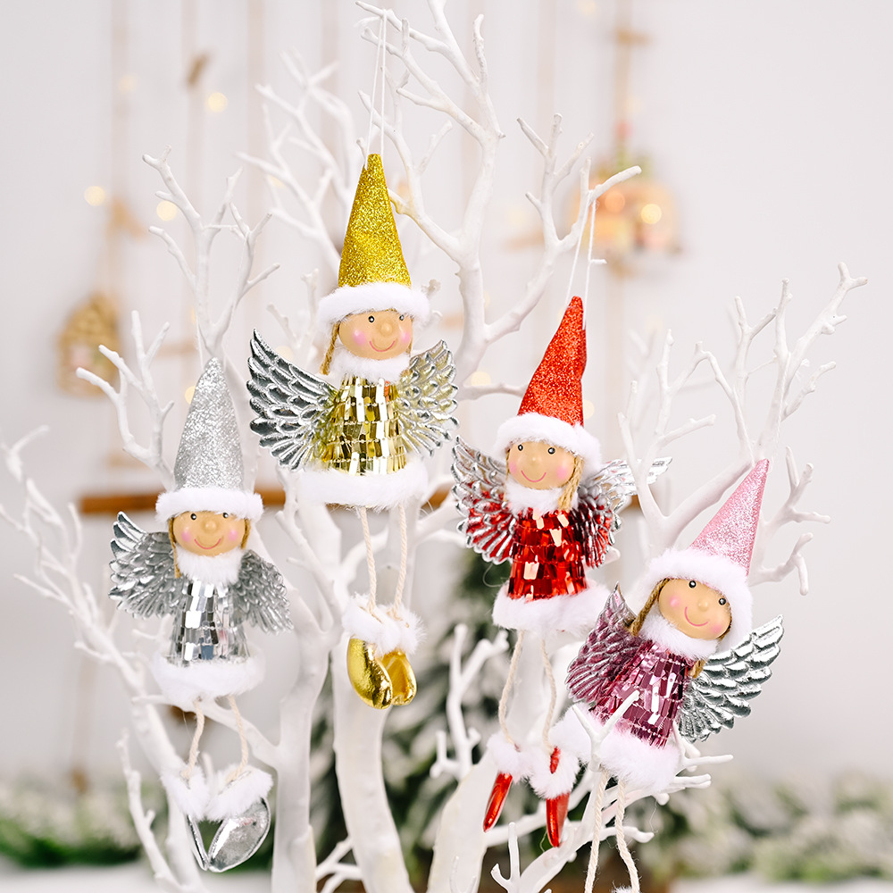 Venta al por mayor de Navidad con alas de lentejuelas niña decoración colgante  NHHB394490