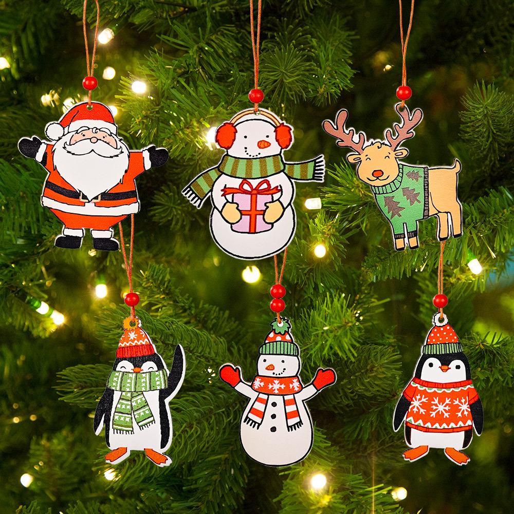 Comercio al por mayor árbol de Navidad Santa Claus muñeco de nieve pingüino colgante decoración  NHHB394494