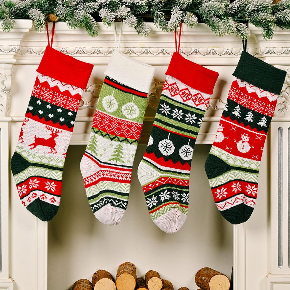 Venta al por mayor de Navidad de punto chocando color calcetines decoración  NHHB394501