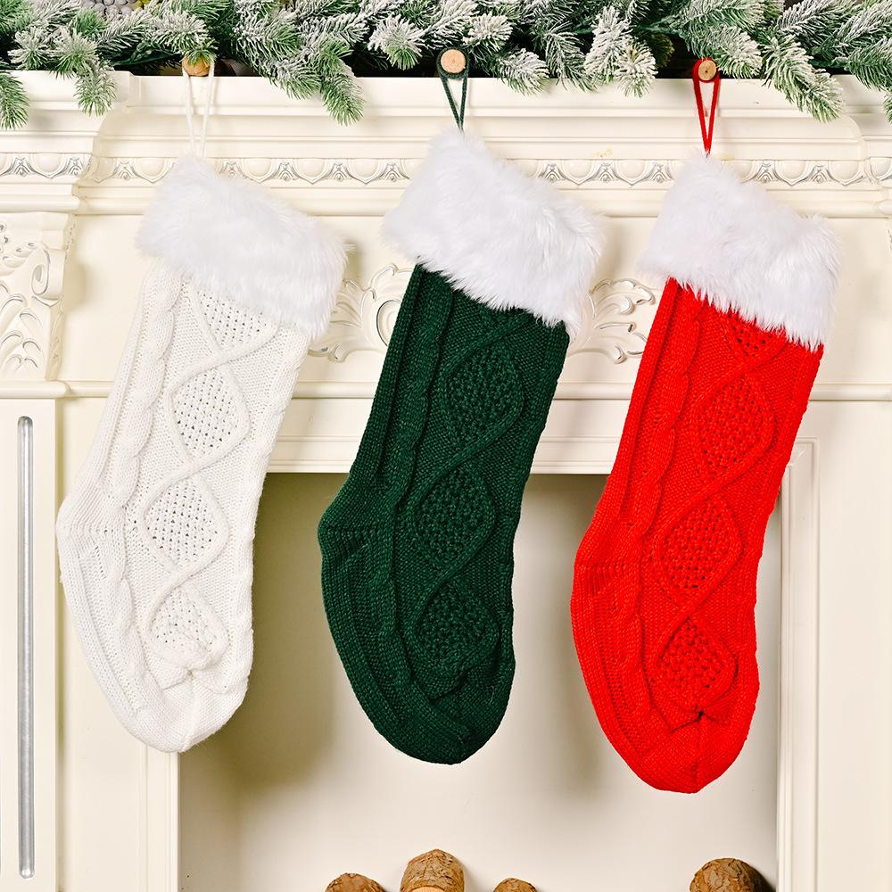 wholesale Decoración de calcetines de punto de borde crudo blanco navideño  NHHB394502