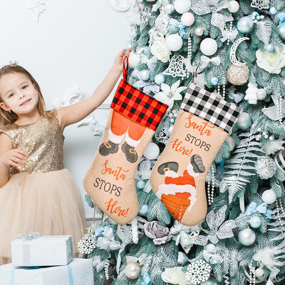 wholesale Decoración de bolsa de regalo de media de celosía navideña  NHHB394505