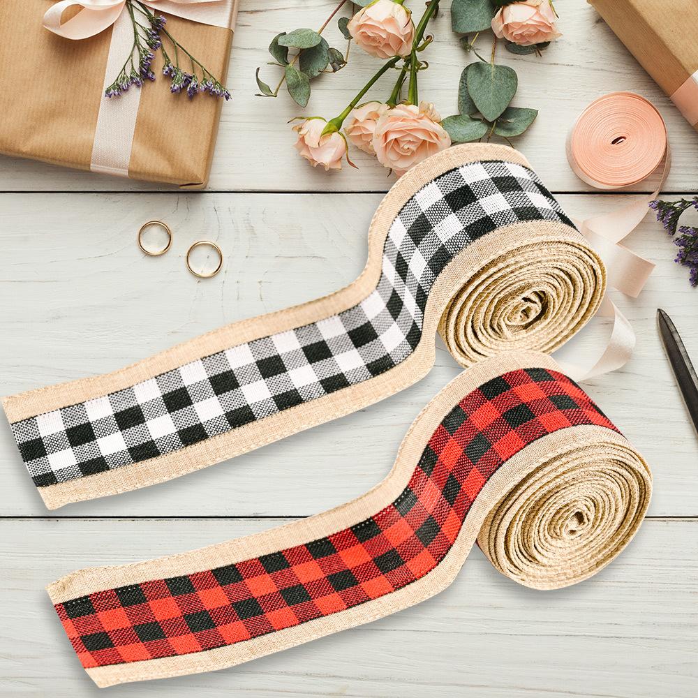wholesale borde de lino de imitación comprobado cinta de decoración navideña  NHHB394507