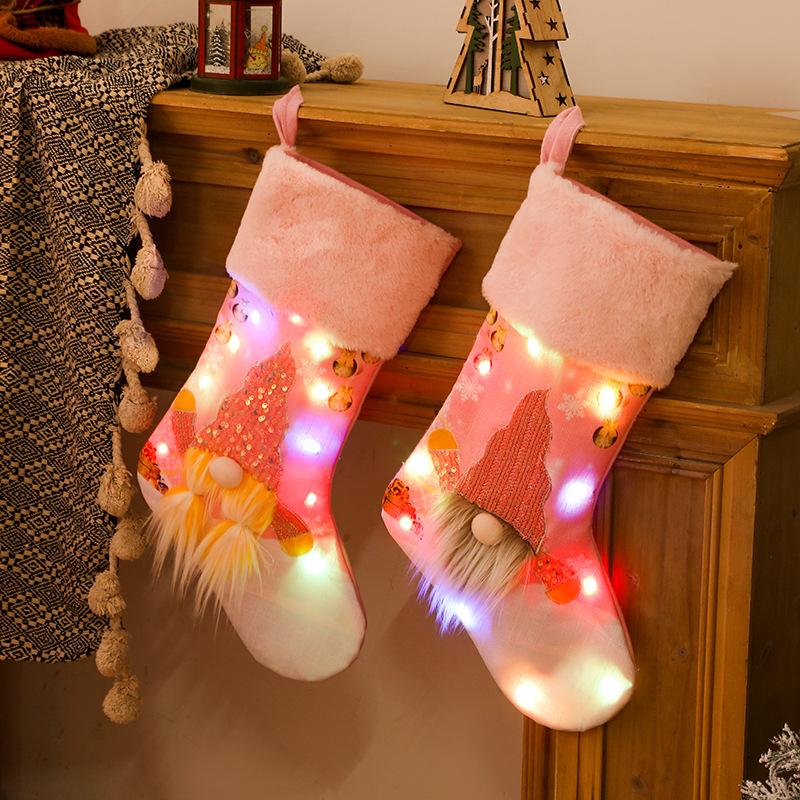 wholesale nuevas medias rosas con luces Decoración navideña  NHHB394510