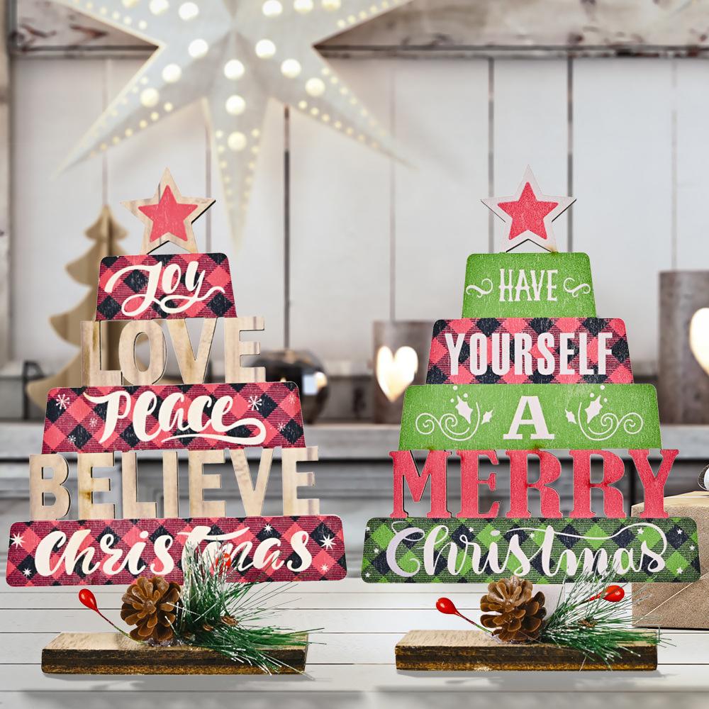 wholesale árbol de decoración navideña con estampado hueco de madera  NHHB394514