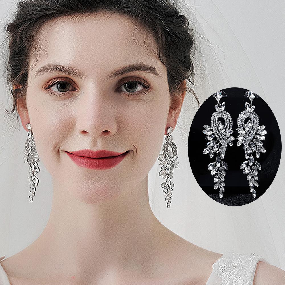 Pendientes largos de hoja de diamantes de imitación de aleación de moda al por mayor  NHHS404915
