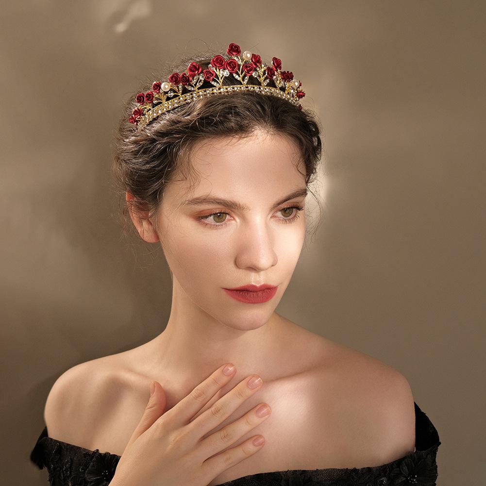 Nueva joyería de boda barroca rosa roja corona de diamantes al por mayor  NHHS404920