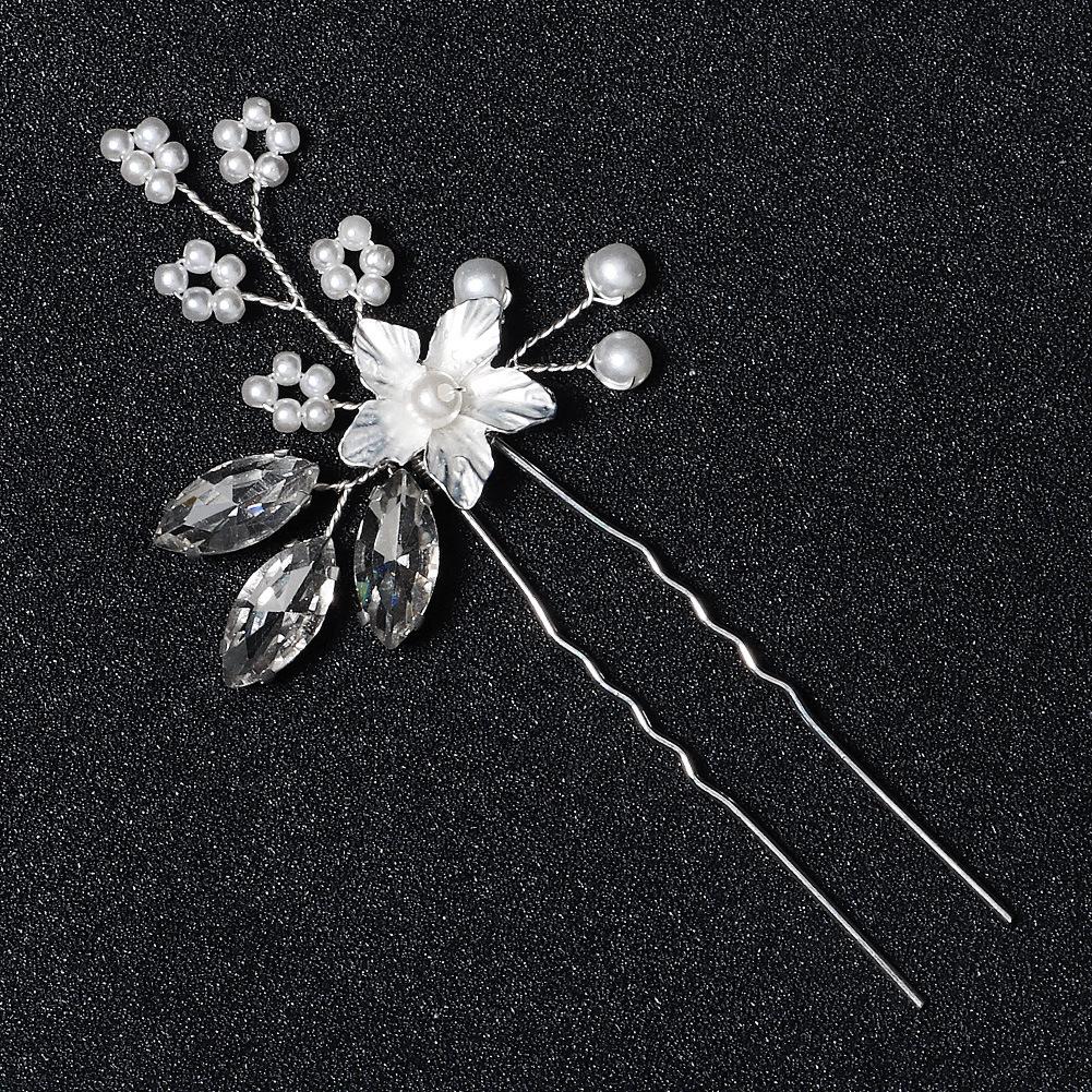 Moda novias flor de diamantes de imitación hoja horquilla en forma de U al por mayor  NHHS404923