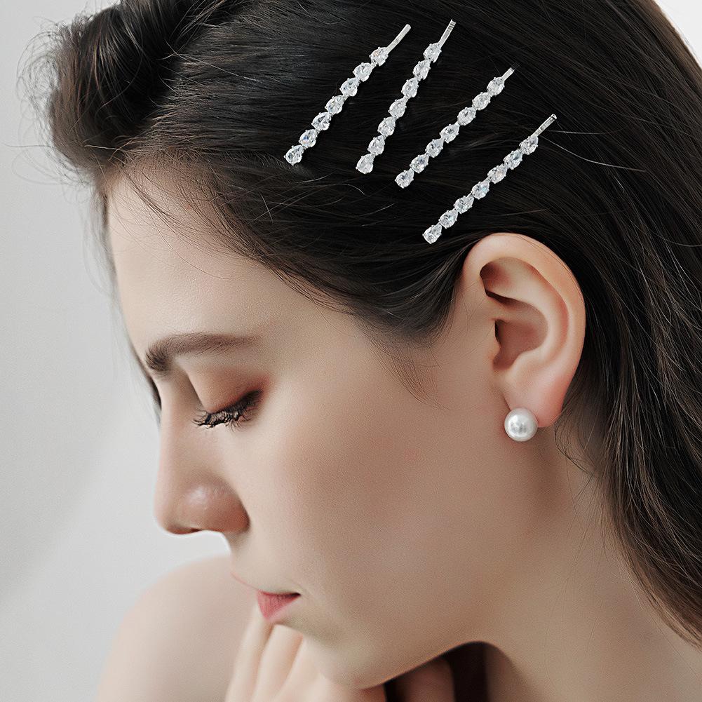 Venta al por mayor  del clip lateral del rhinestone del metal del circón de la cabeza simple coreana NHHS404927
