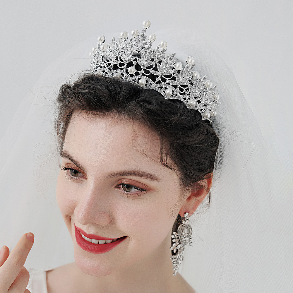 Tocado de boda de moda corona nupcial de perlas de diamantes al por mayor  NHHS404932