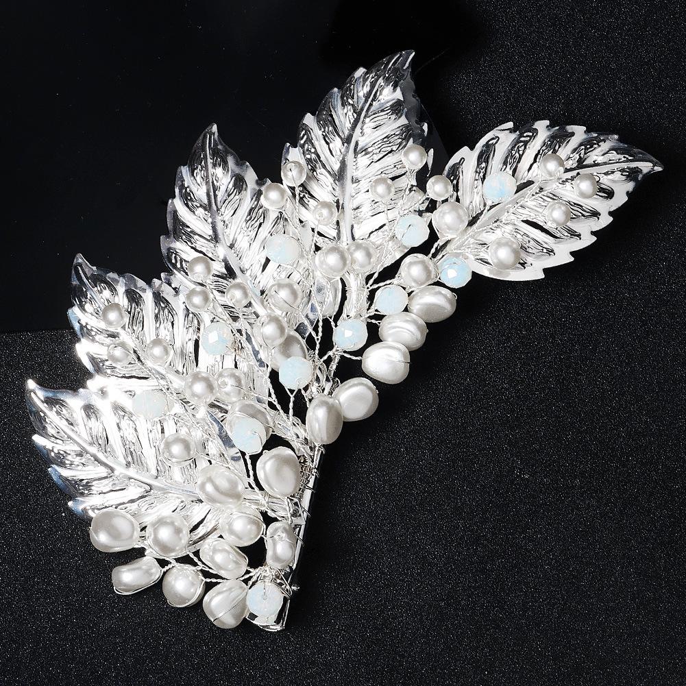 Moda simple nuevo cristal perla hoja lateral pinza de pelo al por mayor  NHHS404933