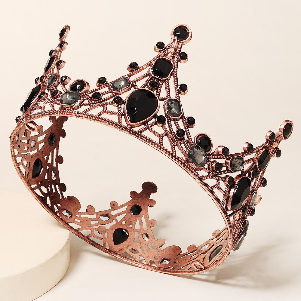 Nueva corona nupcial de diamante negro redondo completo barroco al por mayor  NHHS404940