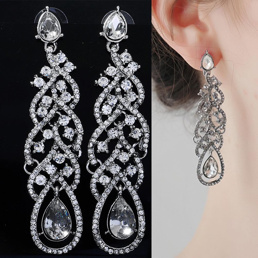 Pendientes largos de borla de diamantes de imitación de moda al por mayor  NHHS404955
